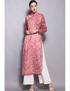 Kadın Yüksek Elastikiyet Uzun Kol Dik Yaka İlkbahar Yaz Desen Çin Stili Günlük Bölünmüş-Kadın Gömlek Pantolon Suit