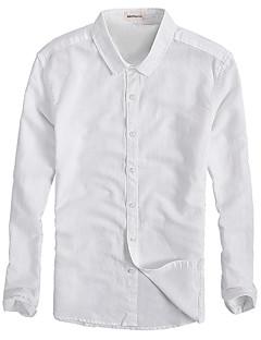 Pánské Jednobarevné Běžné/Denní Jednoduché Košile-Léto Bavlna Do V Dlouhý rukáv Tenké