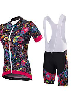 חולצת ג'רסי ומכנס קצר ביב לרכיבה בגדי ריקוד נשים שרוולים קצרים אופנייםמכנסיים קצרים ג'רזי שורטים (מכנסיים קצרים) מרופדים גרביונים ביב