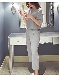 Dames Eenvoudig Zomer T-Shirt Pantalon Kostuums,Casual/Dagelijks Effen 1/2 Lengte mouw