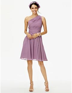 LAN TING BRIDE 무릎 길이 원 숄더 신부 들러리 드레스 - 우아한 민소매 쉬폰