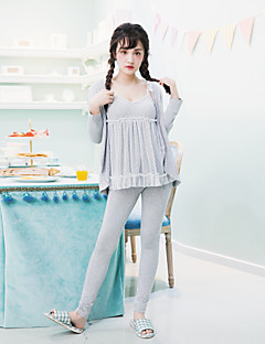 女性の3pcsの寝間着セットのレースパッチvネックドレス長袖の甘いパジャマセット