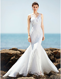 Trumpet / Mermaid Wedding Dress Beautiful Back Court Train V-neck Lace Tulle Charmeuse with Beading