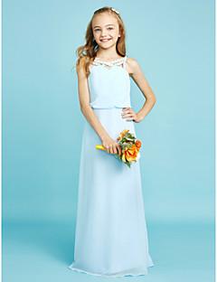 Sütun Yere Kadar Şifon Çocuk Nedime Elbisesi ile Kristal Detaylar tarafından LAN TING BRIDE®