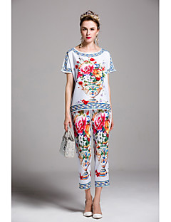 By Megyn Women's Going out Casual/Daily Cute Chinoiserie Spring Summer Shirt Pant SuitsPrint Round Neck Short Sleeve