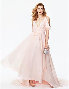 TS Couture 포멀 이브닝 드레스 - 셀러브리티 스타일 A-라인 V-넥 코트 트레인 쉬폰 와 허리끈/리본 앞면 트임 주름