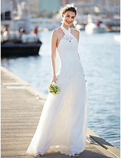 LAN TING BRIDE A-라인 웨딩 드레스 플로럴 레이스 스윕 / 브러쉬 트레인 홀터 넥 레이스 와 레이스