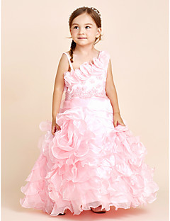 Princess Floor Length Flower Girl Dress - Organza Strap with Applique Beading Bow(s) Flower(s) Sash / Ribbon Tiered