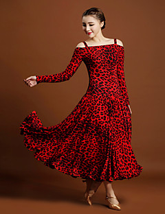 Ballroom Dance Dresses Women's Performance Viscose Animal Print 1Piece/Set Long Sleeve Natural Dresses