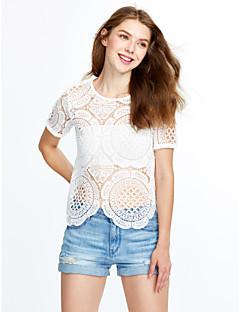 婦人向け お出かけ 夏 ブラウス,セクシー / ストリートファッション ラウンドネック ソリッド ホワイト コットン / レーヨン 半袖 薄手