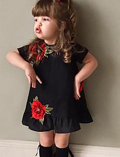 女の子の ファッション フラワー コットン ドレス 夏 半袖