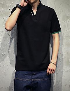 メンズ カジュアル/普段着 プラスサイズ 夏 Polo,シンプル Vネック ソリッド レタード コットン スパンデックス 半袖 ミディアム