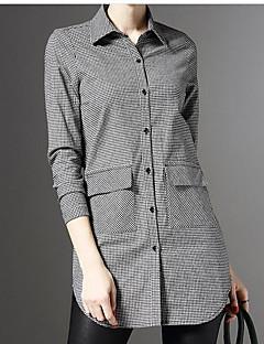 여성 체크 셔츠 카라 긴 소매 셔츠,액티브 작동 면 린넨 봄 가을 불투명 중간