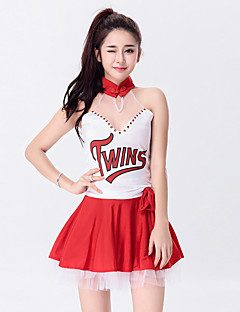 Zullen we cheerleader kostuums outfits vrouwen prestaties polyester tule strass