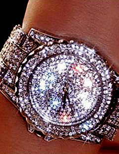 Dame Par Selskapsklokke Moteklokke Armbåndsur Unike kreative Watch Simulert Diamant Klokke Quartz Strass Fargerik Rustfritt stål Band