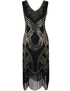 Kappe / kolonne v-hals knelengde polyester cocktail party kjole med paljetter