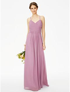 LAN TING BRIDE עד הריצפה רצועות ספגטי שמלה לשושבינה  - גב יפהפייה ללא שרוולים שיפון