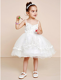Princess Knee Length Flower Girl Dress - Tulle Spaghetti Straps with Crystal Beading Bow(s) Embroidery Sash / Ribbon Pleats