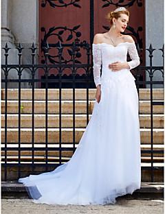 A-Linie Hochzeitskleid - Schick & Modern Glanz & Glamour Rückenfrei Hof Schleppe Schulterfrei Tüll mit Applikationen Knopf Pailletten