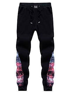 メンズ シノワズリ キュート ビンテージ シンプル ストリートファッション 活発的 ローライズ スリム ハーレム マイクロエラスティック スリム チノパン パンツ 純色 混色