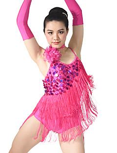 Dança Latina Lenços de Quadril para Dança do Ventre Mulheres Crianças Actuação Elastano Poliéster Lantejoulas 5 Peças Sem Mangas Caído