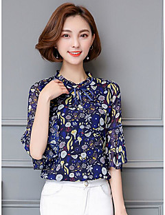 Women's Daily Casual Simple Blouse,Floral Round Neck 3/4 Length Sleeve Polyester