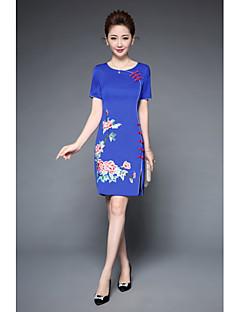 Damen Hülle Kleid-Party Ausgehen Retro Chinoiserie Stickerei Rundhalsausschnitt Übers Knie Kurzarm Polyester Sommer Mittlere Hüfthöhe