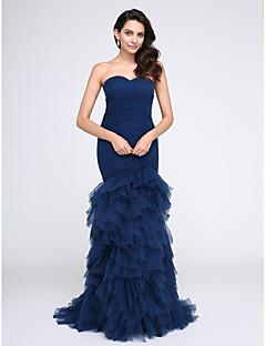 Justo & Evasê Decote Princesa Cauda Escova Tule Baile de Fim de Ano Evento Formal Vestido com Cruzado Franzido de TS Couture®