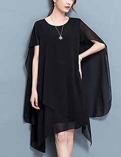 Women's Plus Size Street chic Chiffon Dress,Solid Round Neck Asymmetrical Sleeveless Polyester Summer Mid Rise Micro-elastic Medium