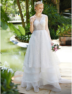 A-Line V-neck Sweep / Brush Train Organza Sequined Wedding Dress with Sequins Tiered by LAN TING BRIDE®