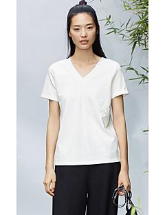 レディース 日常 カジュアル Tシャツ,シンプル Vネック ソリッド コットン 半袖