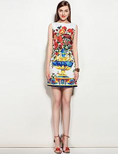 Kadın Parti Dışarı Çıkma Günlük/Sade Sevimli Sokak Şıklığı A Şekilli Elbise Çiçekli,Kolsuz Yuvarlak Yaka Diz üstü Polyester Splandeks