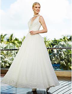LAN TING BRIDE 볼 드레스 웨딩 드레스 어깨 노출 스타일 바닥 길이 V-넥 레이스 튤 와 드레이프트 레이스