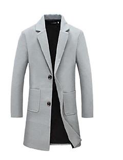 Masculino Casaco Longo Casual Simples Inverno,Sólido Longo Algodão Colarinho de Camisa Manga Longa