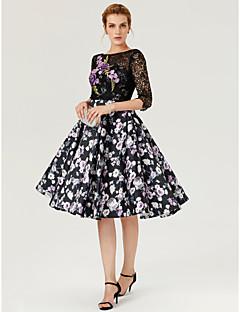 プリンセス バトーネック 膝丈 レース サテン カクテルパーティー ドレス とともに アップリケ パターン/プリント プリーツ バンデージ 〜によって