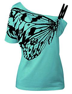Dámské Tisk Plážové Dovolená Jdeme ven Běžné/Denní Jednoduché Šik ven Tričko-Léto Polyester Jedno rameno Krátký rukáv
