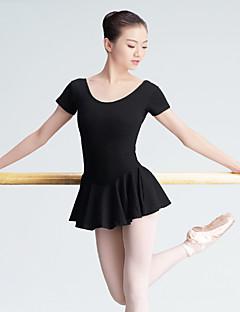 Ballet Leotards Women's Training Cotton 1 Piece Short Sleeve High Leotard