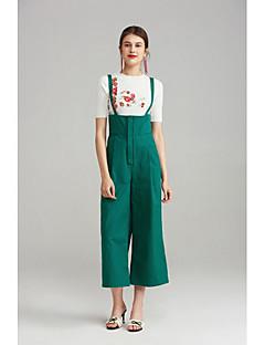 Femme Mignon simple Taille haute Micro-élastique Chino Salopette Pantalon,Ample Couleur Pleine