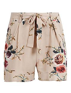 Damen Street Schick Retro Boho Hohe Taillenlinie Mikro-elastisch Chinos Kurze Hosen Schlank Hose,Schleife Sexy Rüsche Blumen Einfarbig