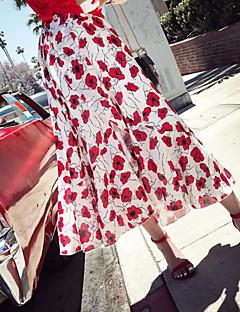 Damer I-byen-tøj Asymetrisk Nederdele Gynge Trykt mønster Farveblok Sommer