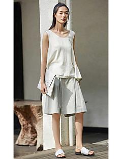 Femme simple Taille Normale Micro-élastique Ample Short Pantalon,Large Couleur Pleine