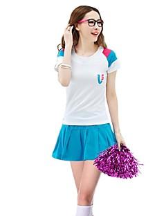 תלבושות למעודדות תלבושות בגדי ריקוד נשים הופעה פוליאסטר קפלים 2 חלקים שרוול קצר גבוה חצאיות עליוניות