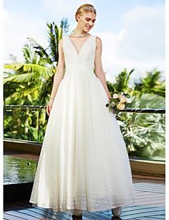 LAN TING BRIDE Balo Abiyesi Düğün elbisesi Piękno w prostocie Yere Kadar V-Yaka Dantelalar Tül ile Drape Dantel