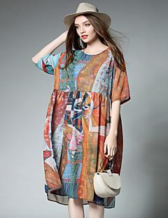 Kadın Günlük/Sade Boho Salaş Elbise Desen,Yarım Kol Yuvarlak Yaka Midi Polyester Yaz Yüksek Bel Esnemez İnce