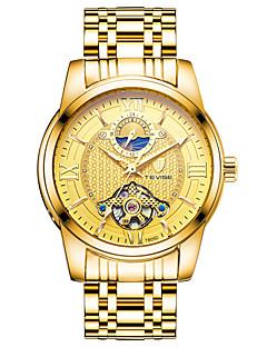 男性用 ファッションウォッチ リストウォッチ 機械式時計 中国 手巻き式 ステンレス バンド ブラック 白 ゴールド