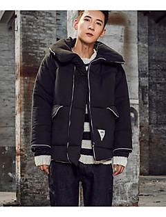 Erkek Solid Sade Actif Günlük Kaban,Pamuklu Polyester Pamuk Uzun Dolgulu-Uzun Kollu