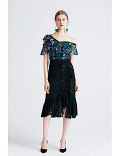 Damen Sexy Einfach Alltag Ausgehen Lässig/Alltäglich Urlaub Asymmetrisch Röcke A-Linie,Ausgeschnitten Schleife einfarbig Sommer