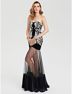 מעטפת \ עמוד לב (סוויטהארט) עד הריצפה טול קטיפה ערב רישמי שמלה עם דוגמא \ הדפס על ידי TS Couture®