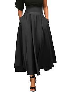Women's Going out Casual/Daily Holiday Midi SkirtsSexy Simple Street chic Swing Classic Irregular High Rise Pleated Bow Solid Spring Summer