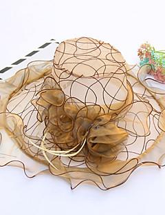 Feminino Chapéu Flor Pelicula de Plástico Tecido Primavera/Outono Verão Coco Floppy Chapéu de sol,Patchwork Floral Côr Misturada